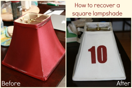 square lampshade makeover